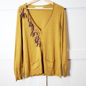 "Anthropologie Sparrow Long Fringe Cardigan To""p L"
